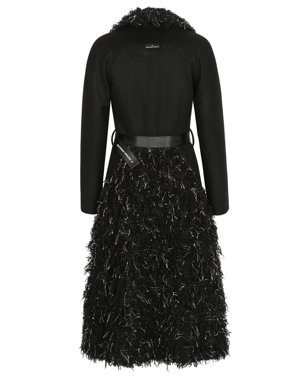 Зимнее пальто с юбкой из фактурной ткани с длинным ворсом