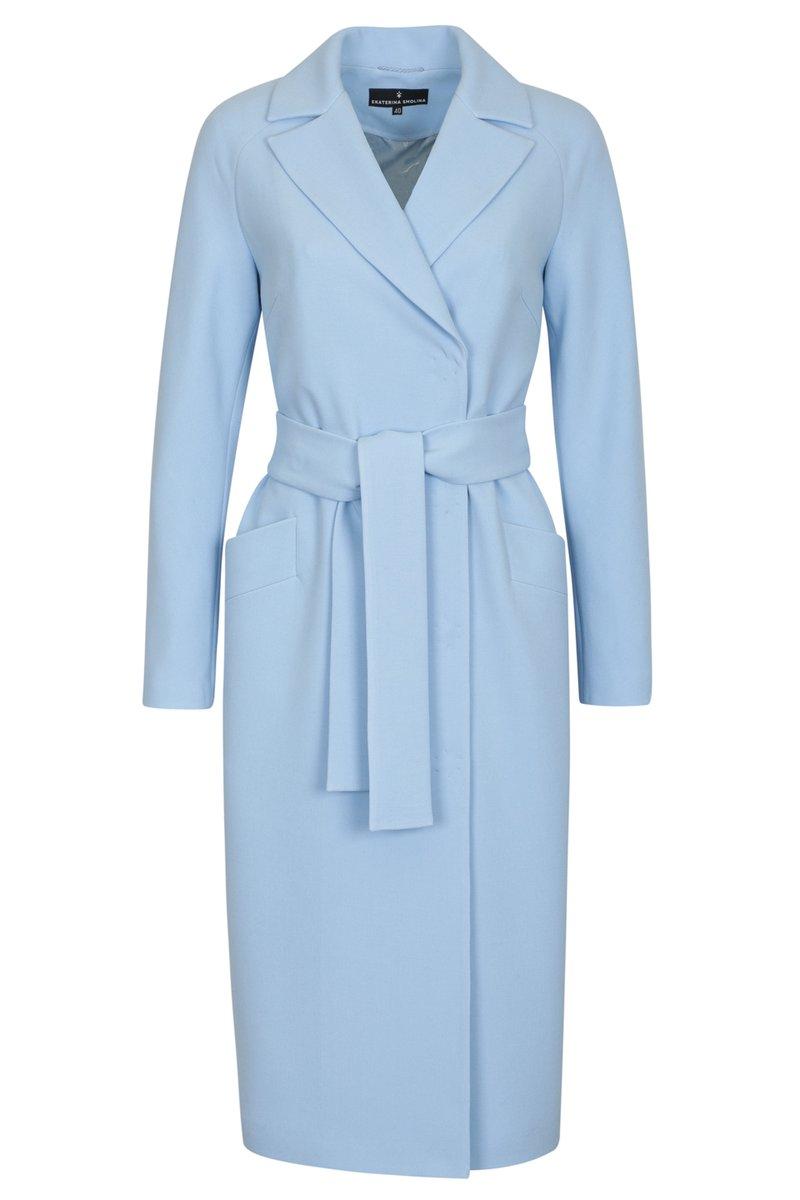 Пальто кардиган нежно-голубого цвета длины миди