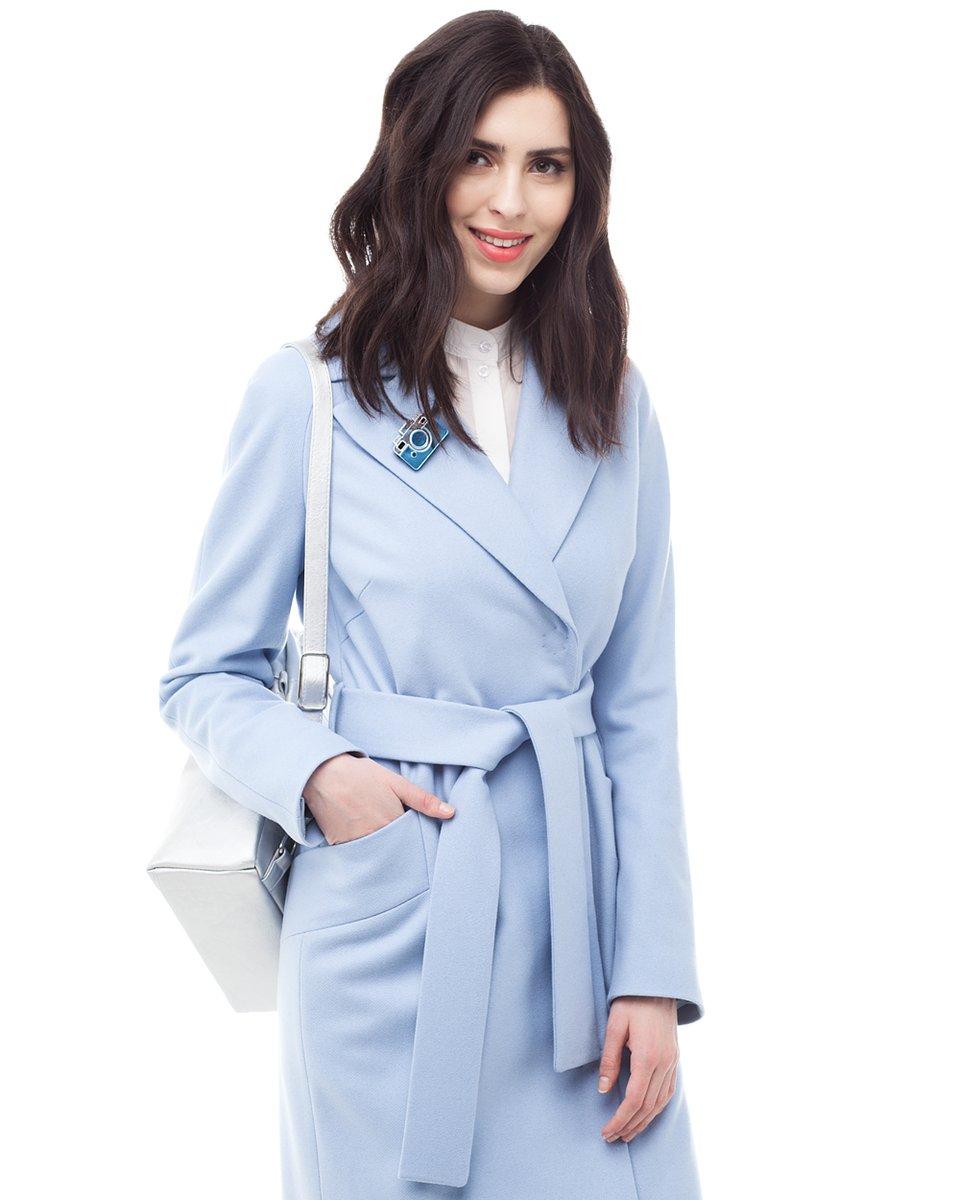 Пальто-кардиган нежно-голубого цвета