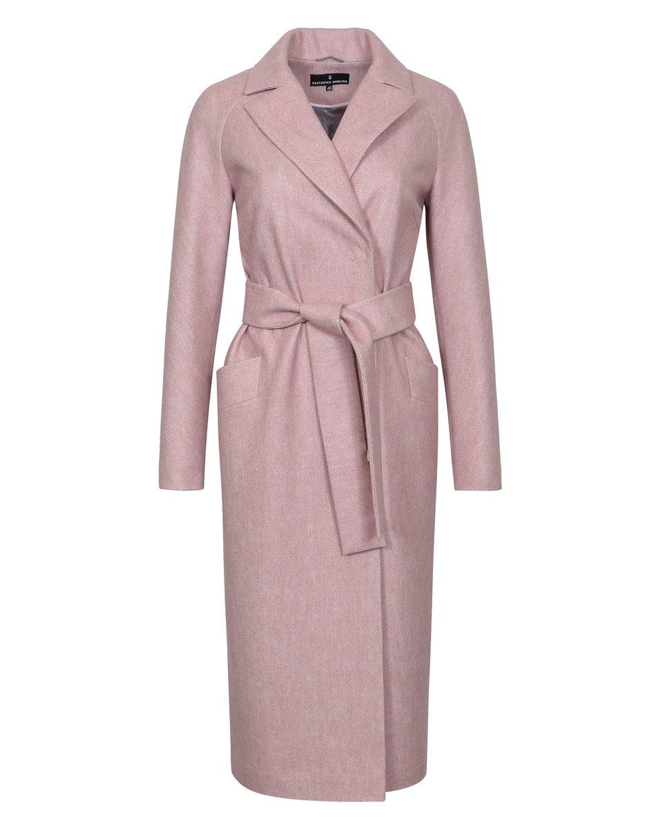 "Пальто-кардиган розового цвета с узором ""елочка"""