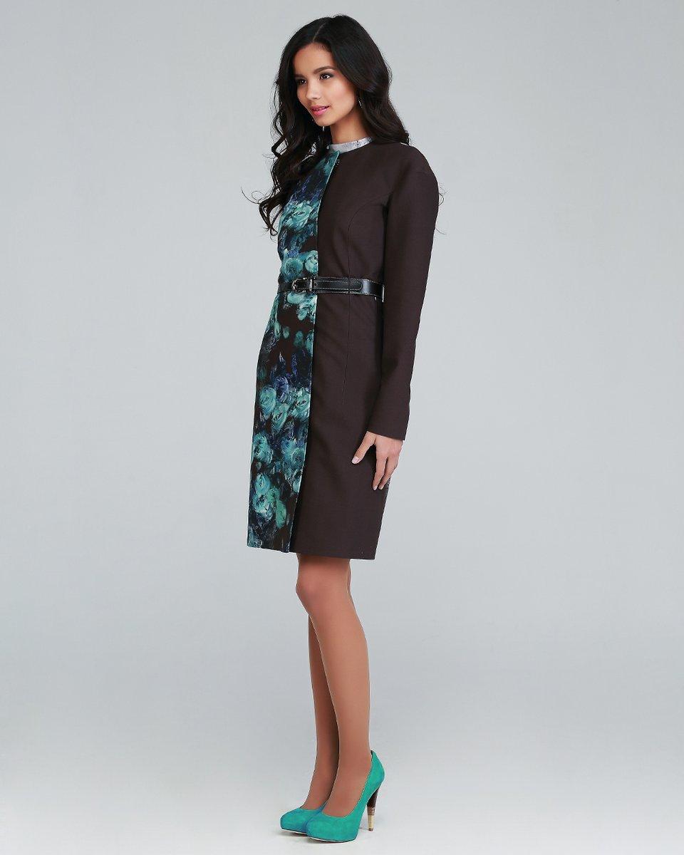 Пальто-кимоно, акварель, коричневое