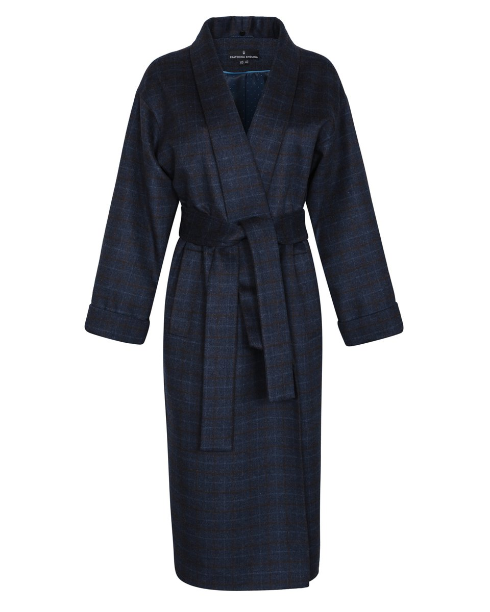 Пальто-кимоно с утеплителем и съемным капюшоном