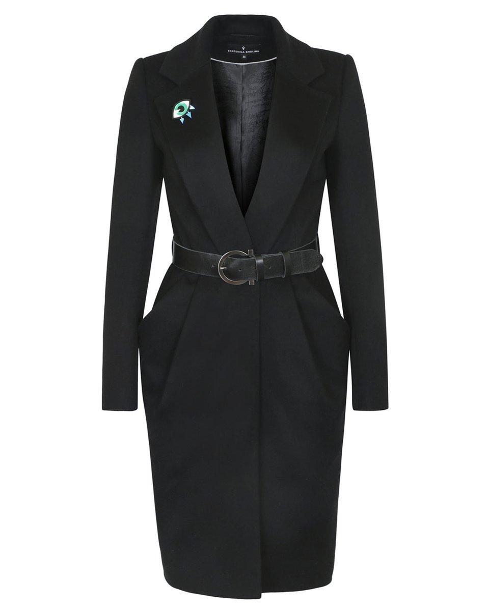 Пальто черного цвета с удлиненными лацканами и юбкой-тюльпан