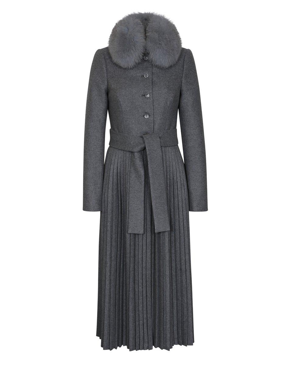 Пальто из премиальной шерсти с юбкой-плиссе