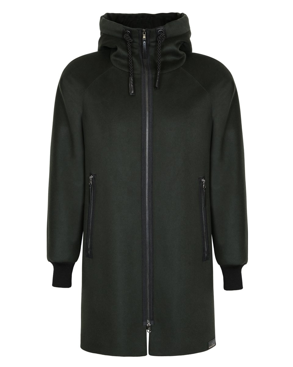 Мужское пальто прямого силуэта цвета хаки