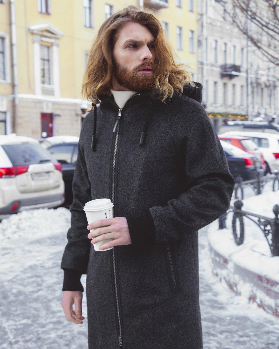 Мужское пальто прямого силуэта цвета серый меланж