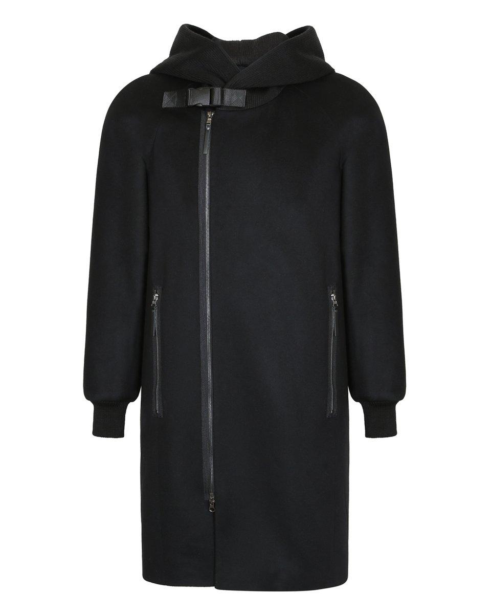 Мужское пальто с трикотажным капюшоном черного цвета
