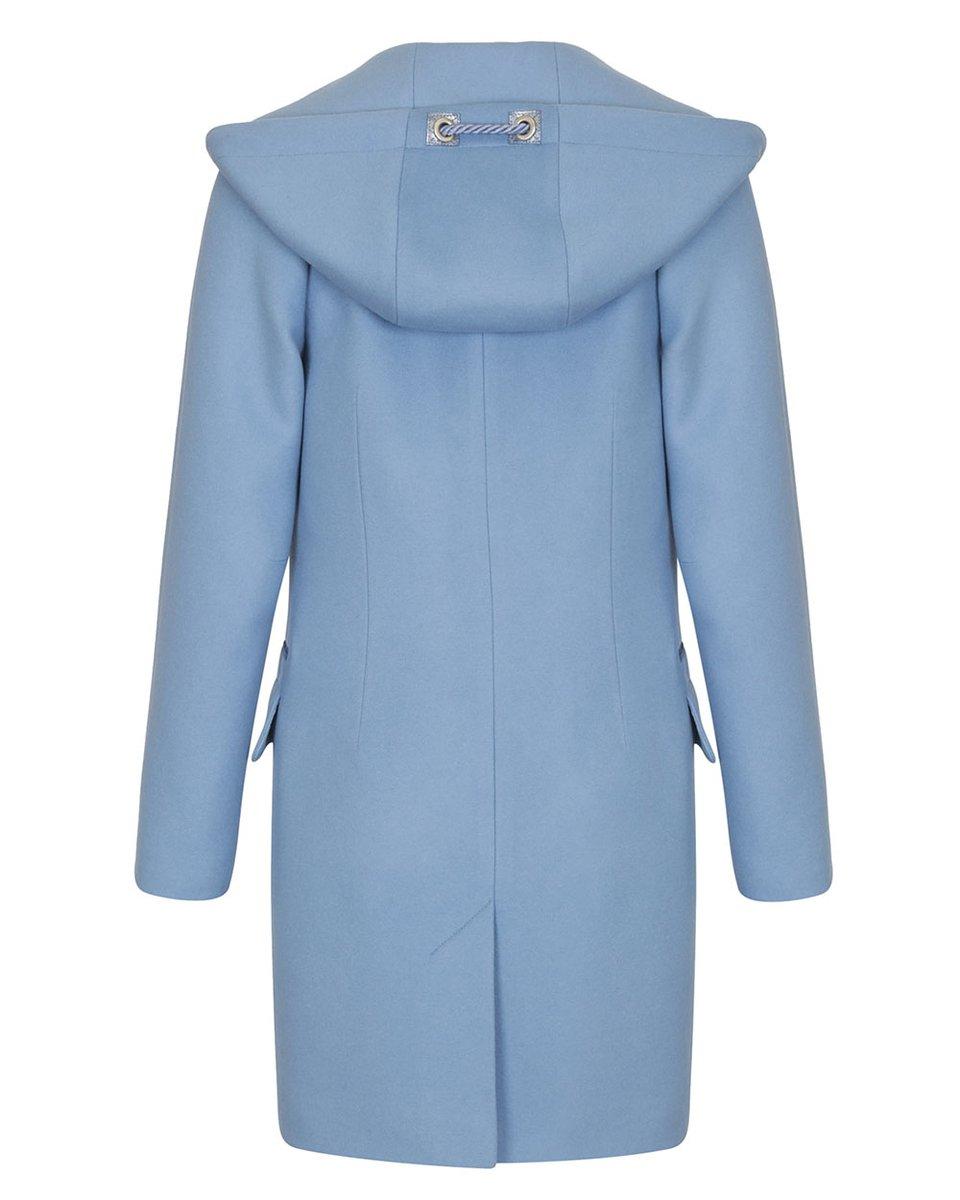 Пальто небесного цвета с капюшоном