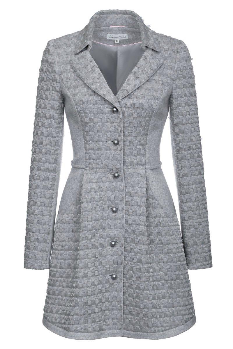 Пальто из шерстяной ткани с органзой