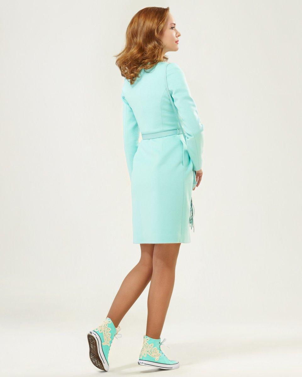 Пальто приталенного силуэта с юбкой-бутон, бирюзовое