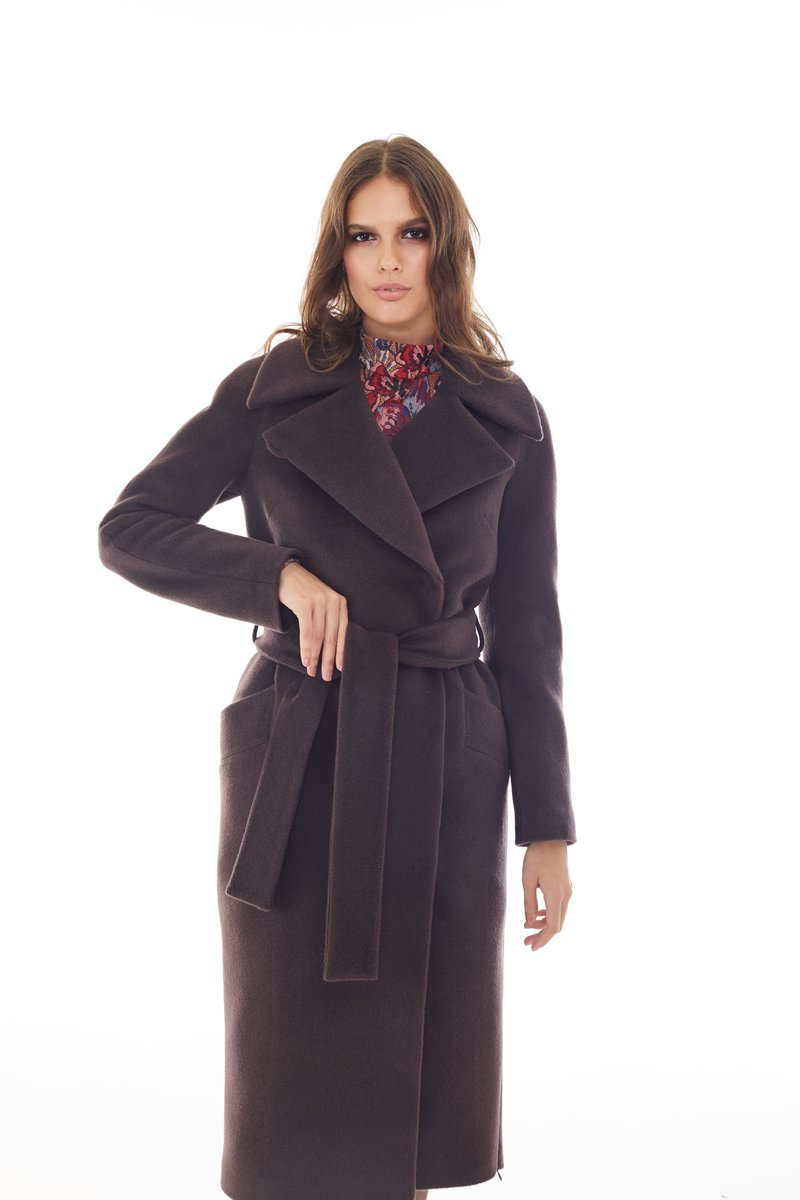 Пальто прямого кроя цвета темного шоколада