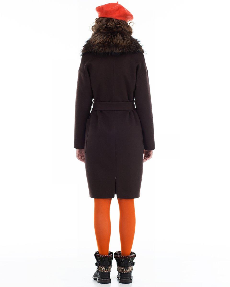 Пальто прямого силуэта, коричневое