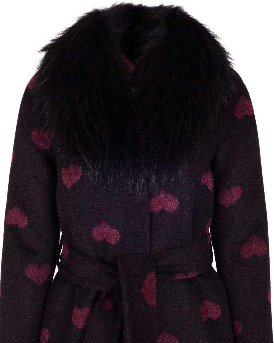 """Зимнее пальто с принтом """"сердца"""""""