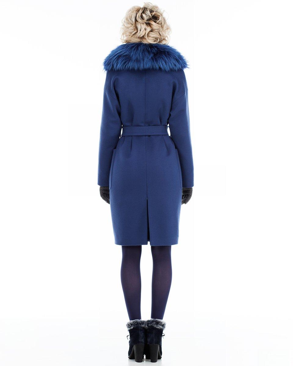 Пальто прямого силуэта, синее