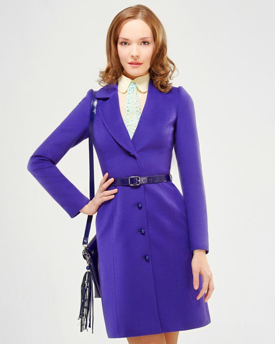 Пальто с асимметричным лацканом, фиолетовое