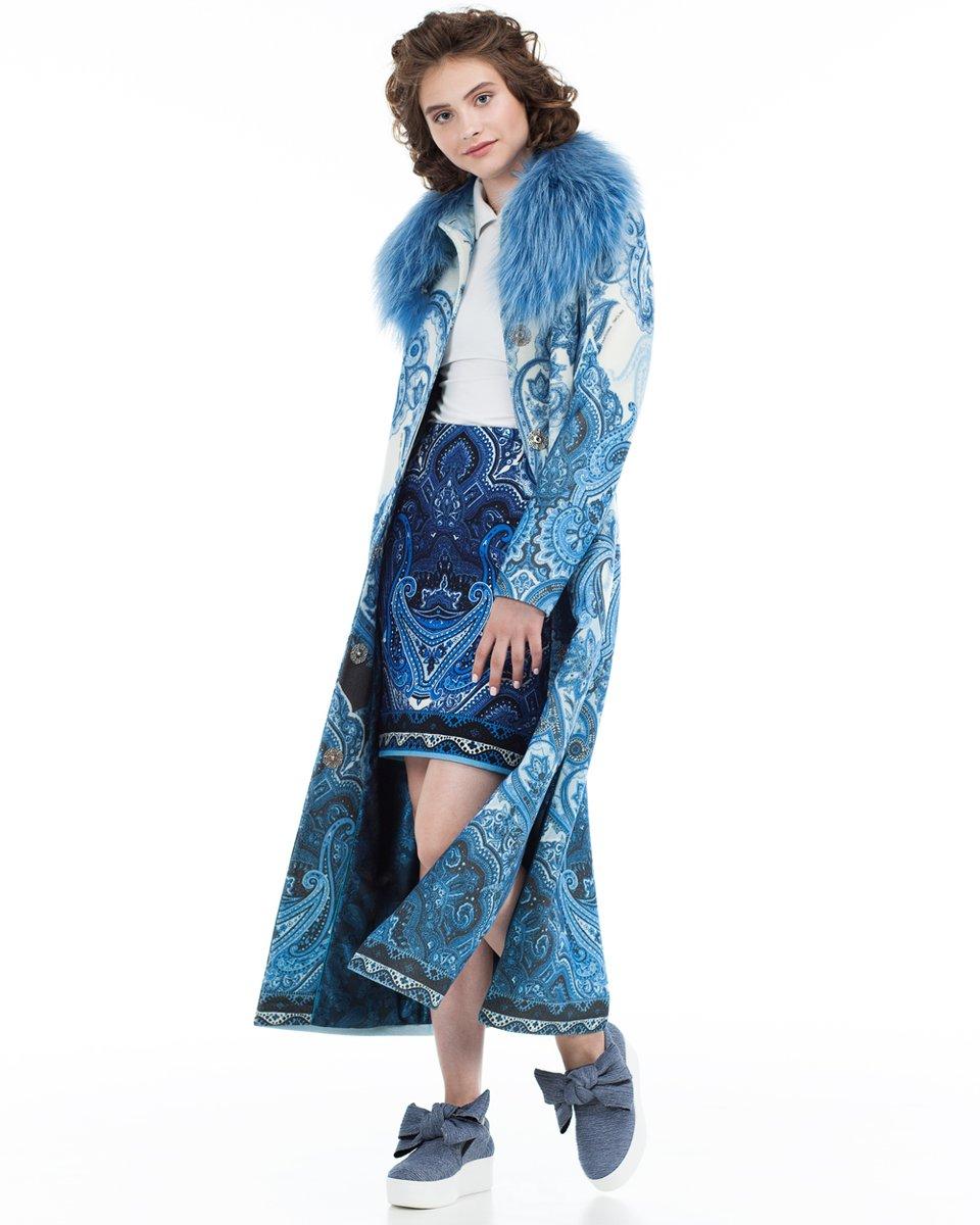 Длинное пальто с авторским принтом
