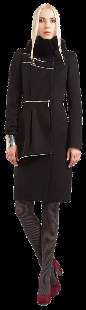 Пальто с баской и воланами, черное.