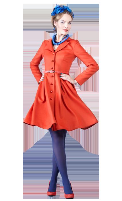 Пальто с цельнокроеным верхом оранжевого цвета
