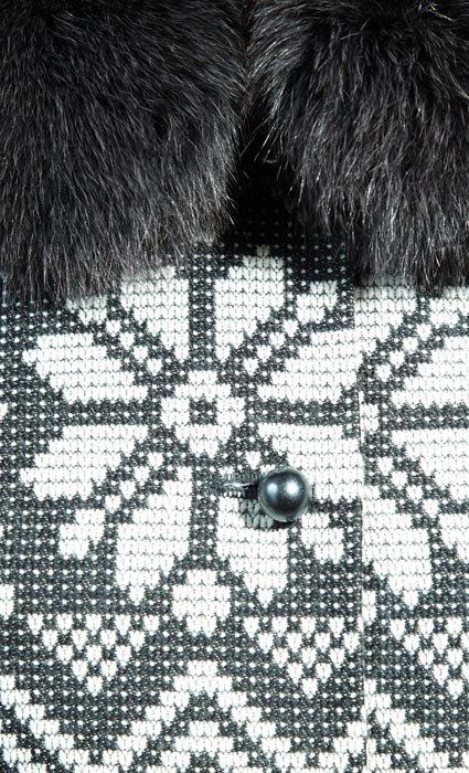 Пальто с диагональным рисунком, снежинка