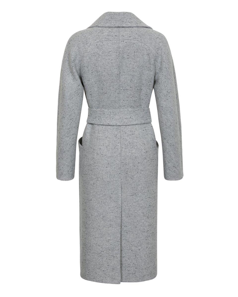Пальто с длинным лацканом, серого цвета