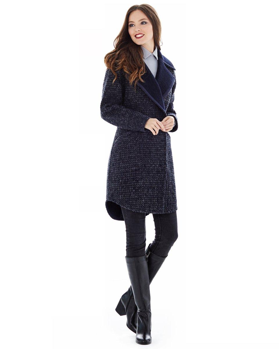 """Укороченное пальто из ткани с переплетением """"косы"""""""
