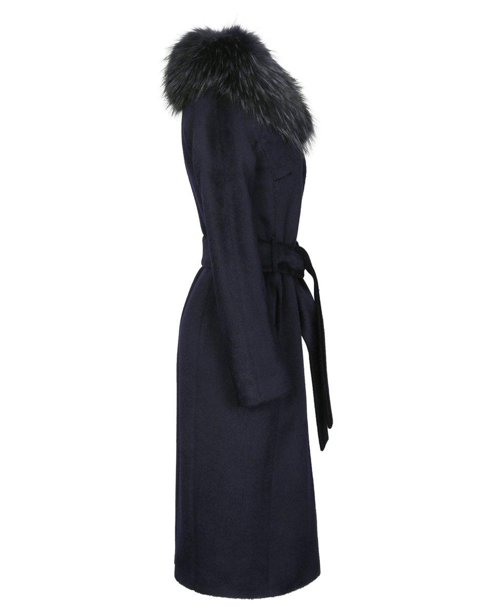 Зимнее пальто с меховым воротником-шалью