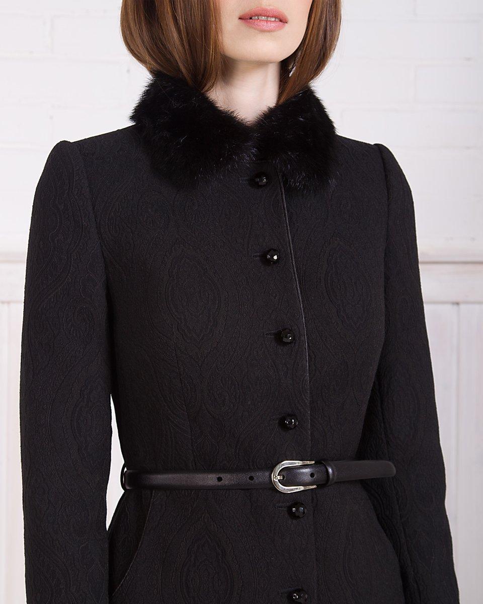 Пальто с норковым воротником из жаккарда, черное