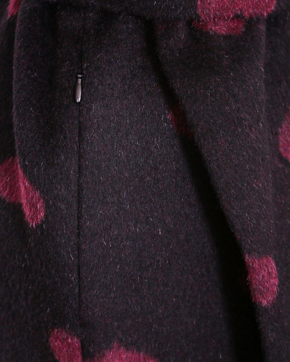 """Зимнее пальто с воротником-шарфом, принт """"Сердца"""""""