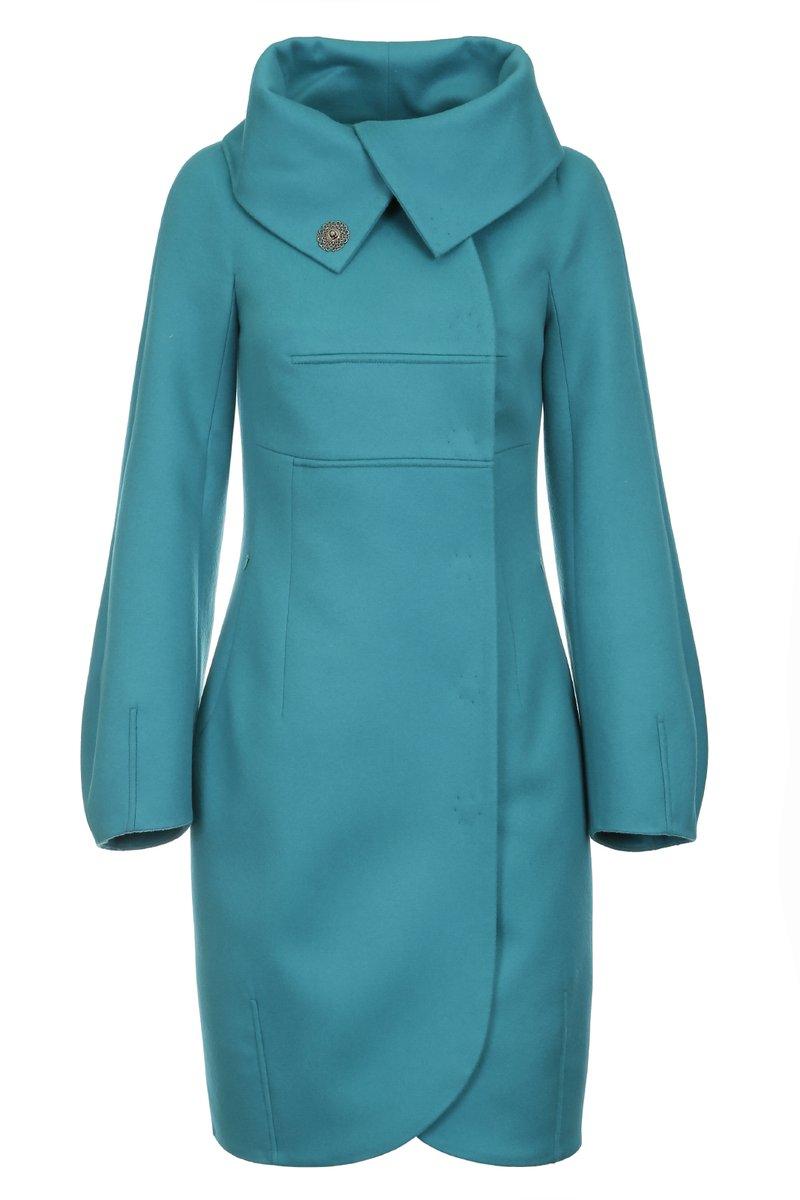 Пальто с объемным воротником и рукавами, изумрудное
