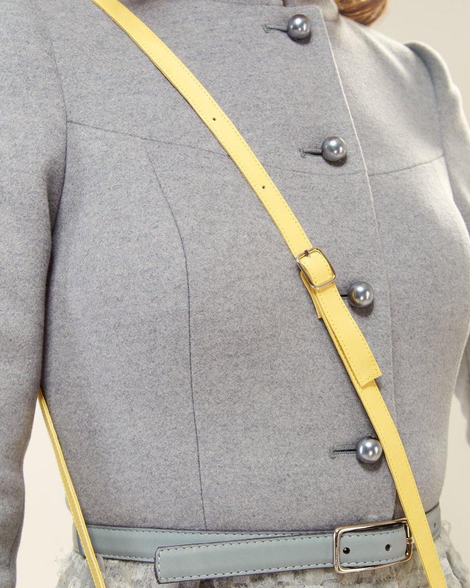 Пальто с органзой, серое