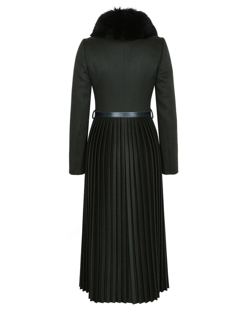 Пальто цвета хаки с юбкой-плиссе