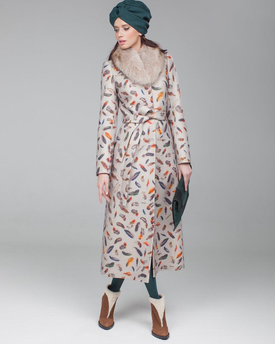 """Пальто с принтом """"перья"""" и длинной юбкой"""