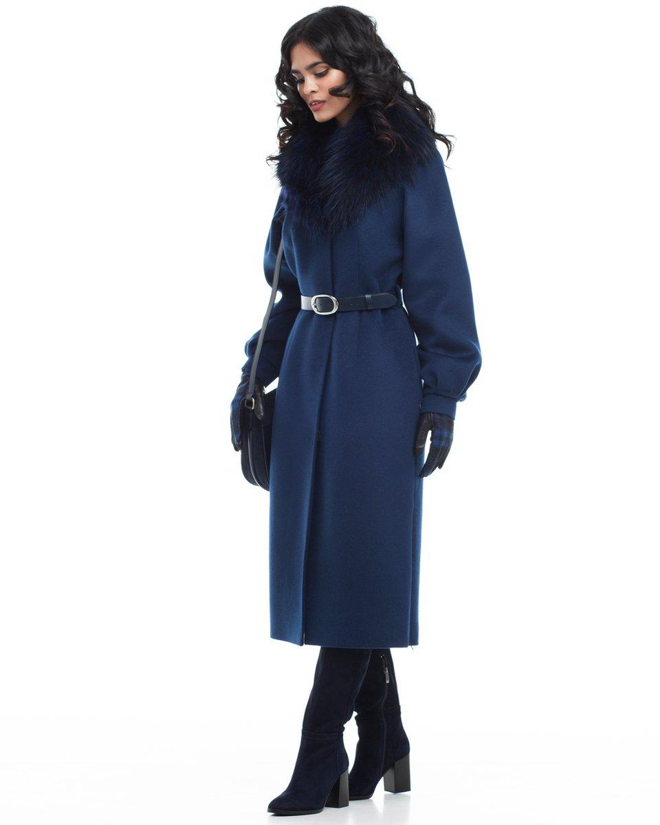Пальто с пышным рукавом и юбкой-тюльпан