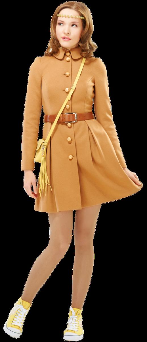 Пальто с пышной юбкой, бежевое