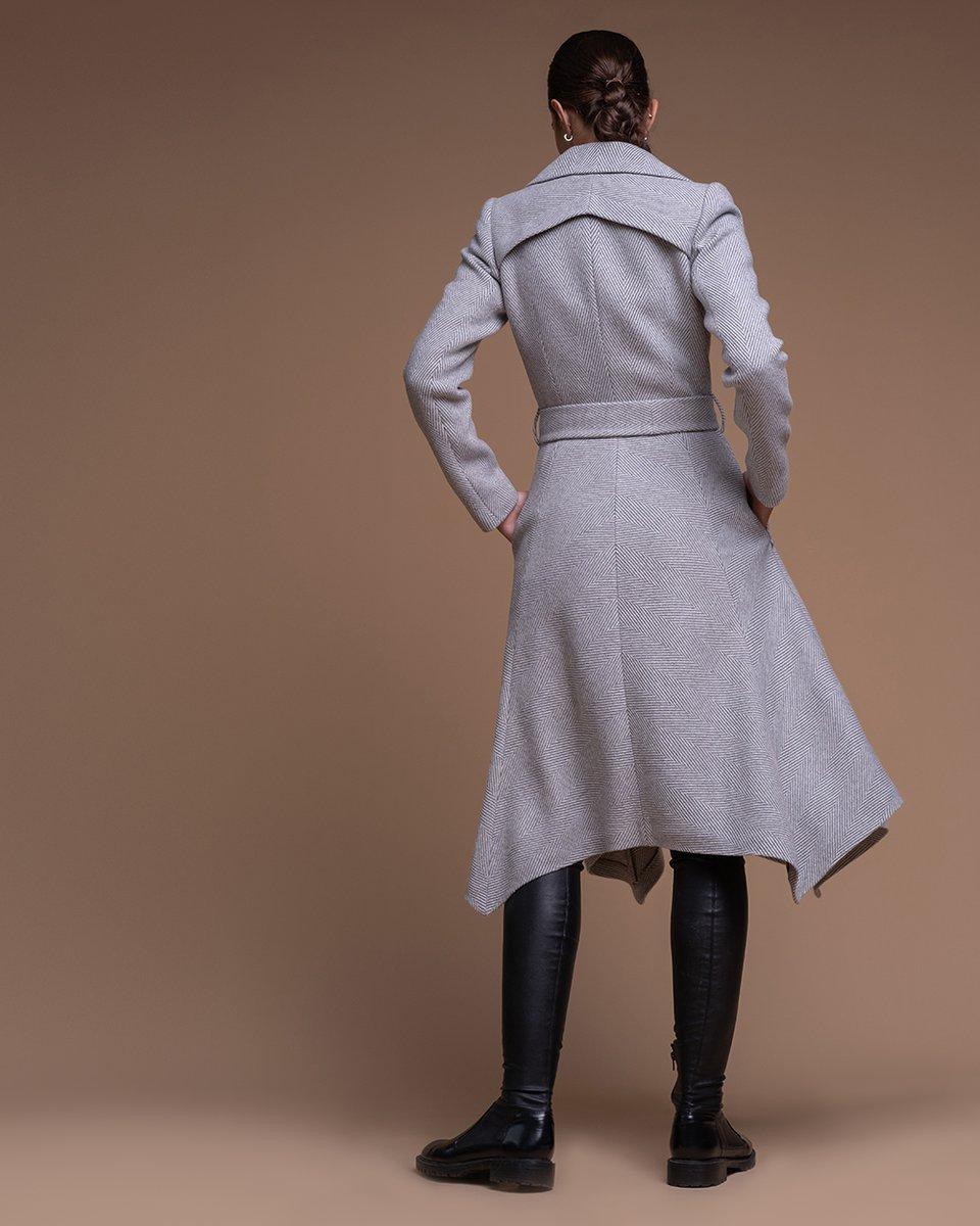 """Пальто с расклешенной юбкой с принтом """"елочка"""""""