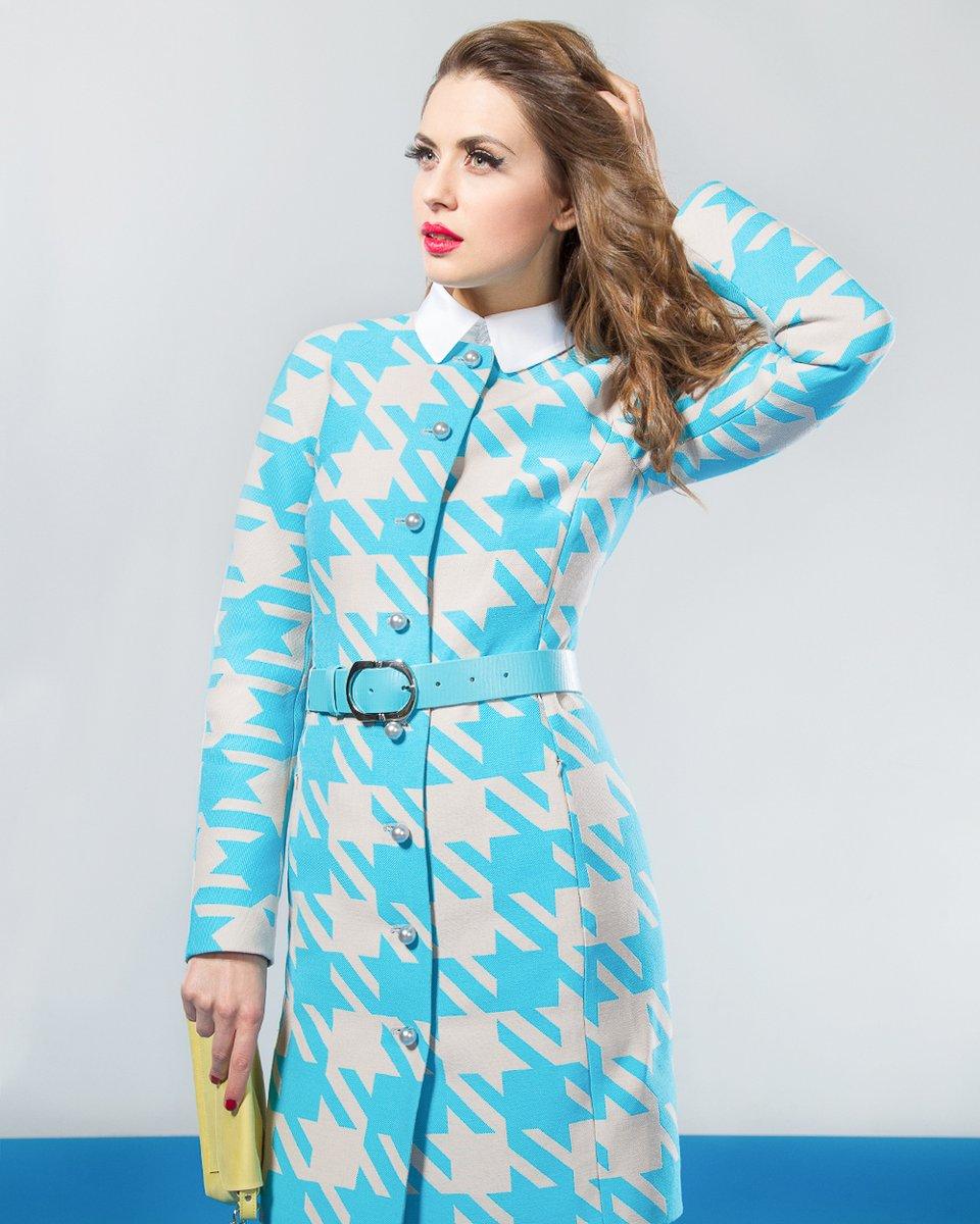 """Пальто с рисунком """"гусиная лапка"""", голубое."""