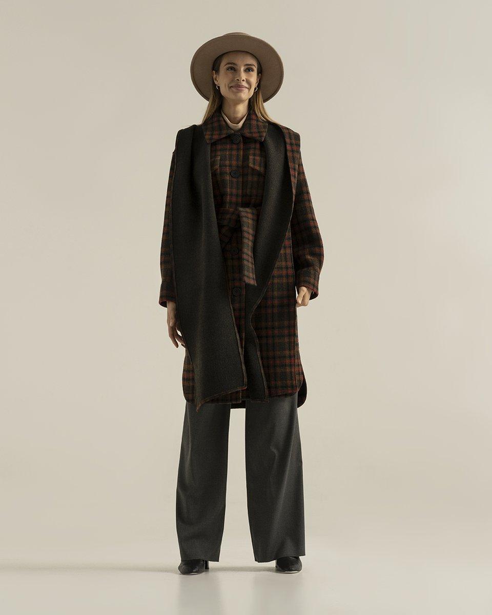 """Пальто с удлиненным капюшоном-шарфом, принт """"Клетка"""""""