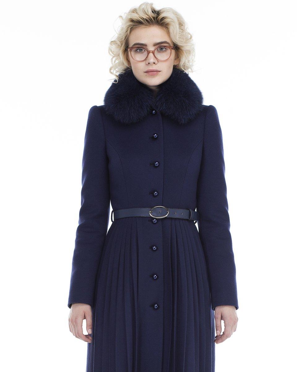 Пальто с юбкой плиссе и фестонами