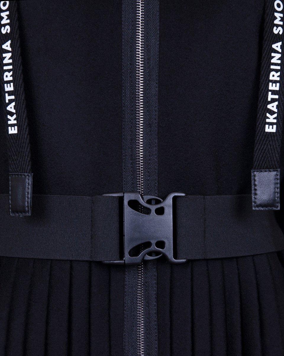 Зимнее пальто с юбкой-плиссе и лампасами