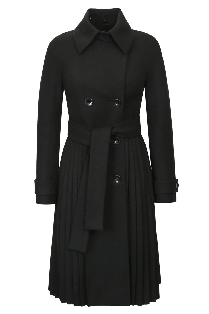 Пальто черного цвета с расклешенной юбкой-плиссе