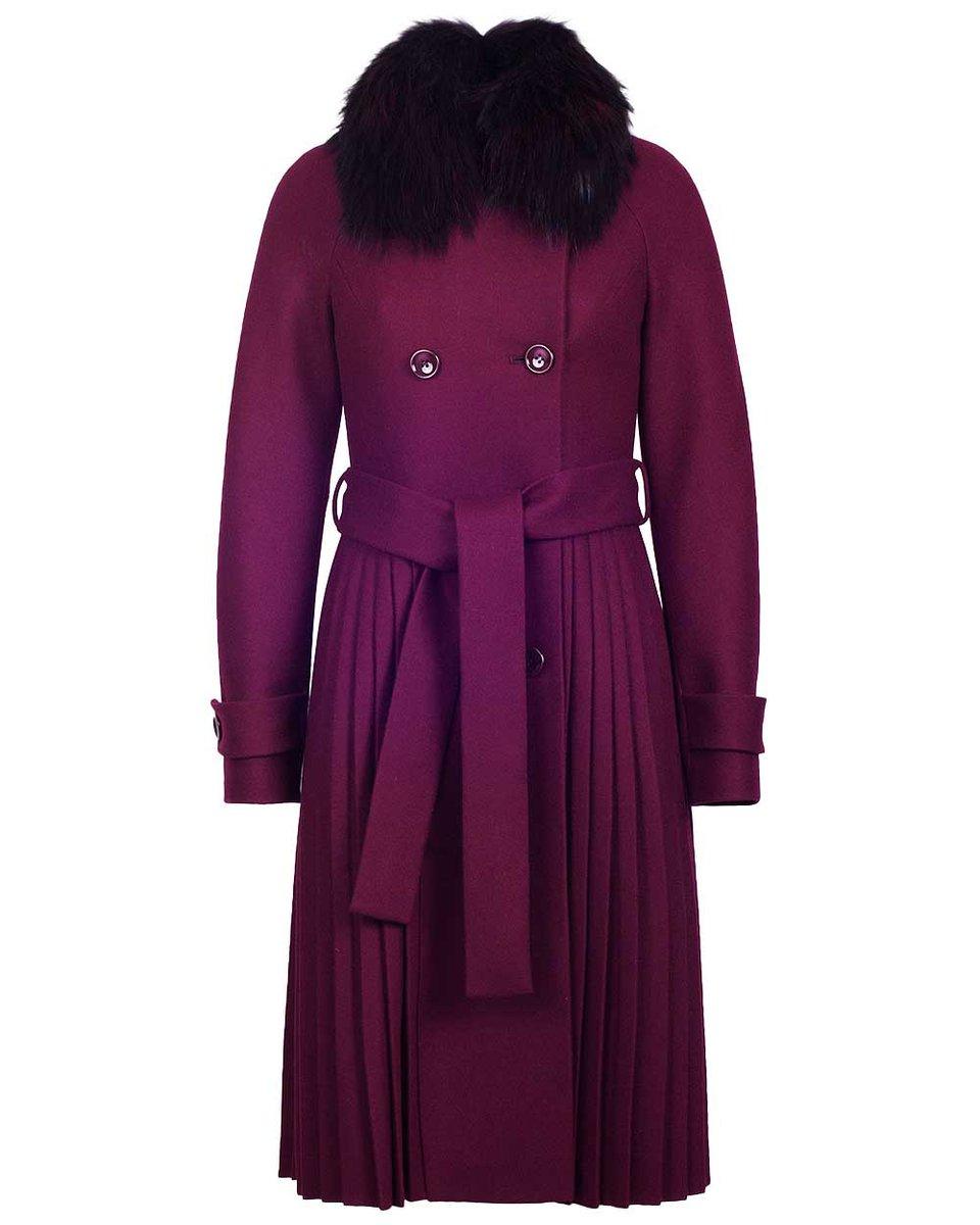 Пальто цвета красной сливы с юбкой плиссе и рукавом реглан