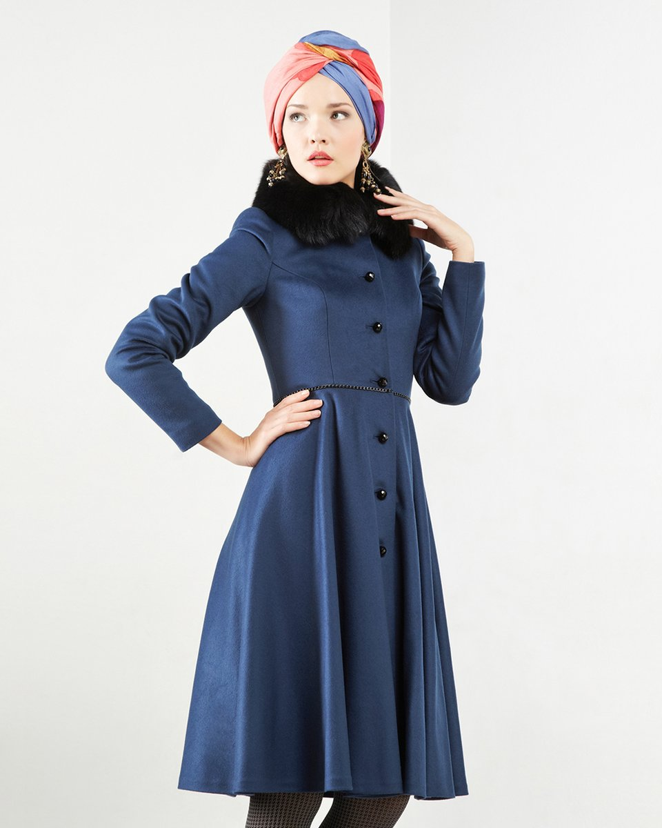 Пальто с юбкой-солнце, синего цвета