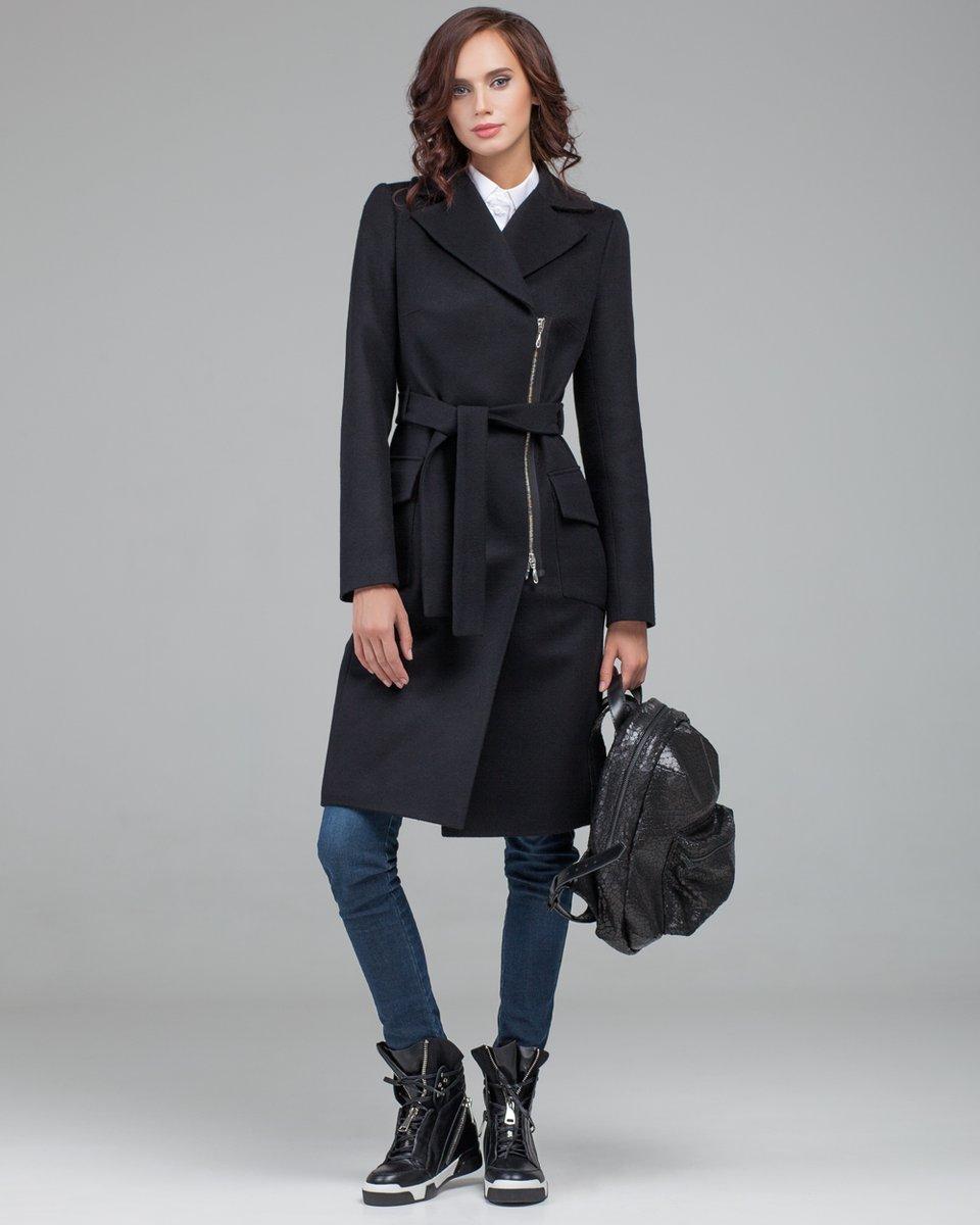 Пальто с запахом на молнии