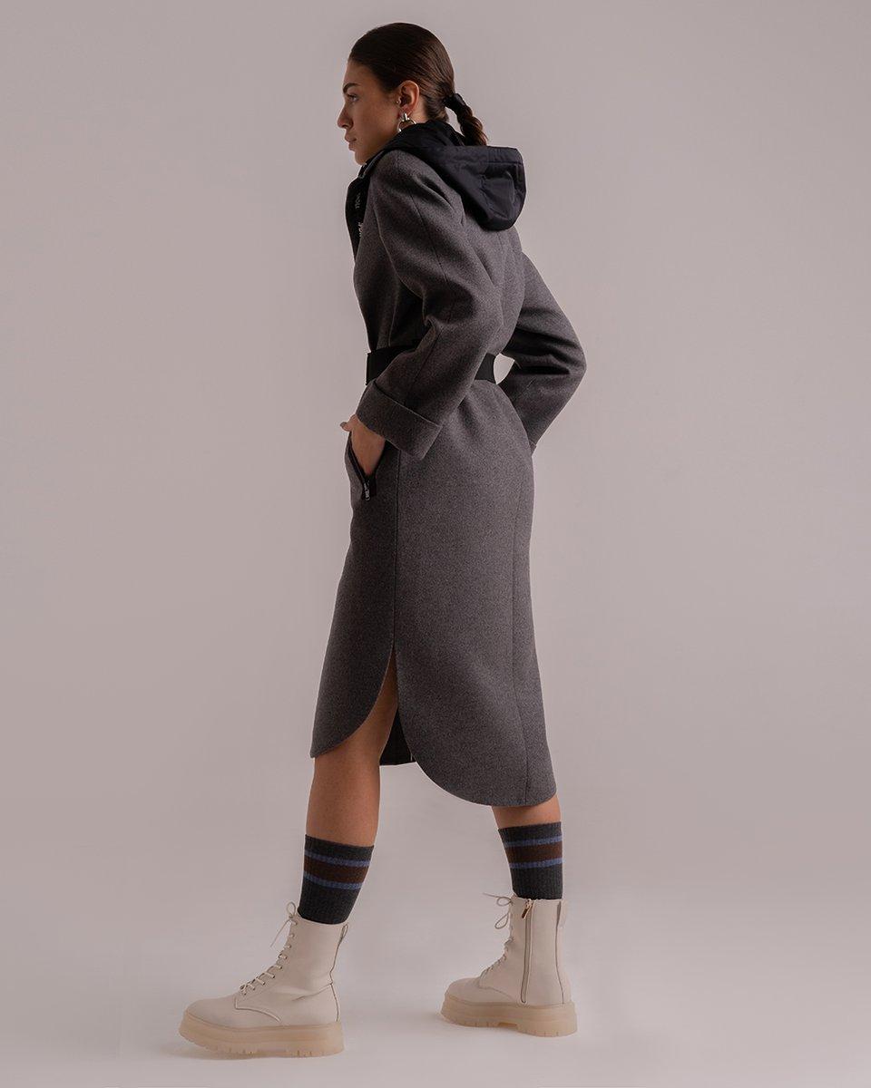 Пальто из шерсти и кашемира со съемным капюшоном