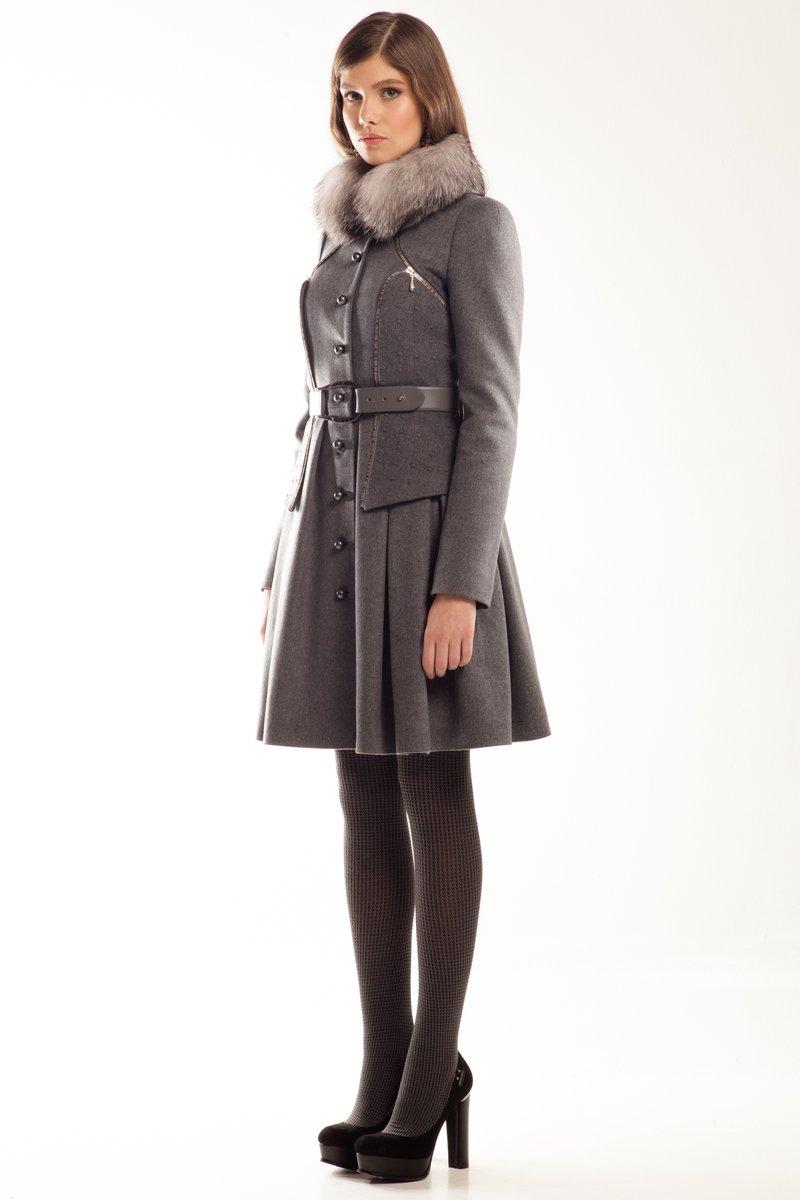 Пальто-трансформер с отстегивающимся корсетом, серое, зима