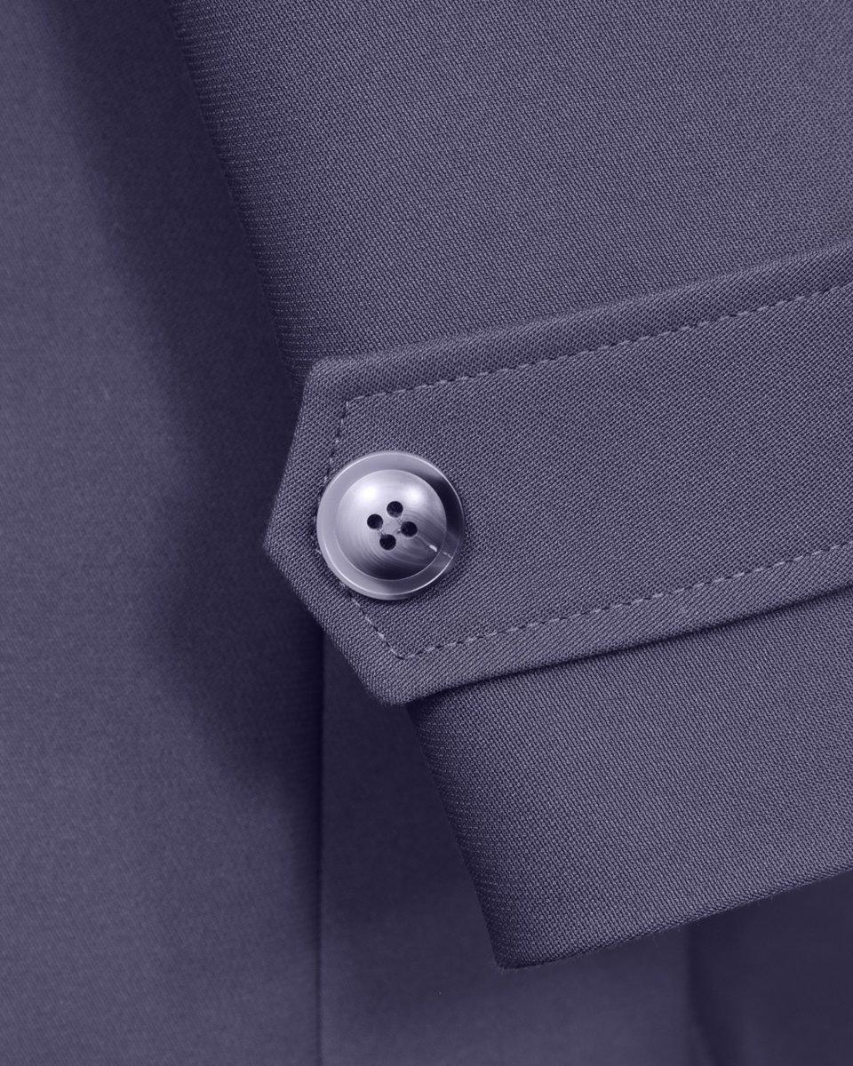 Однобортный тренч черничного цвета с накладными карманами