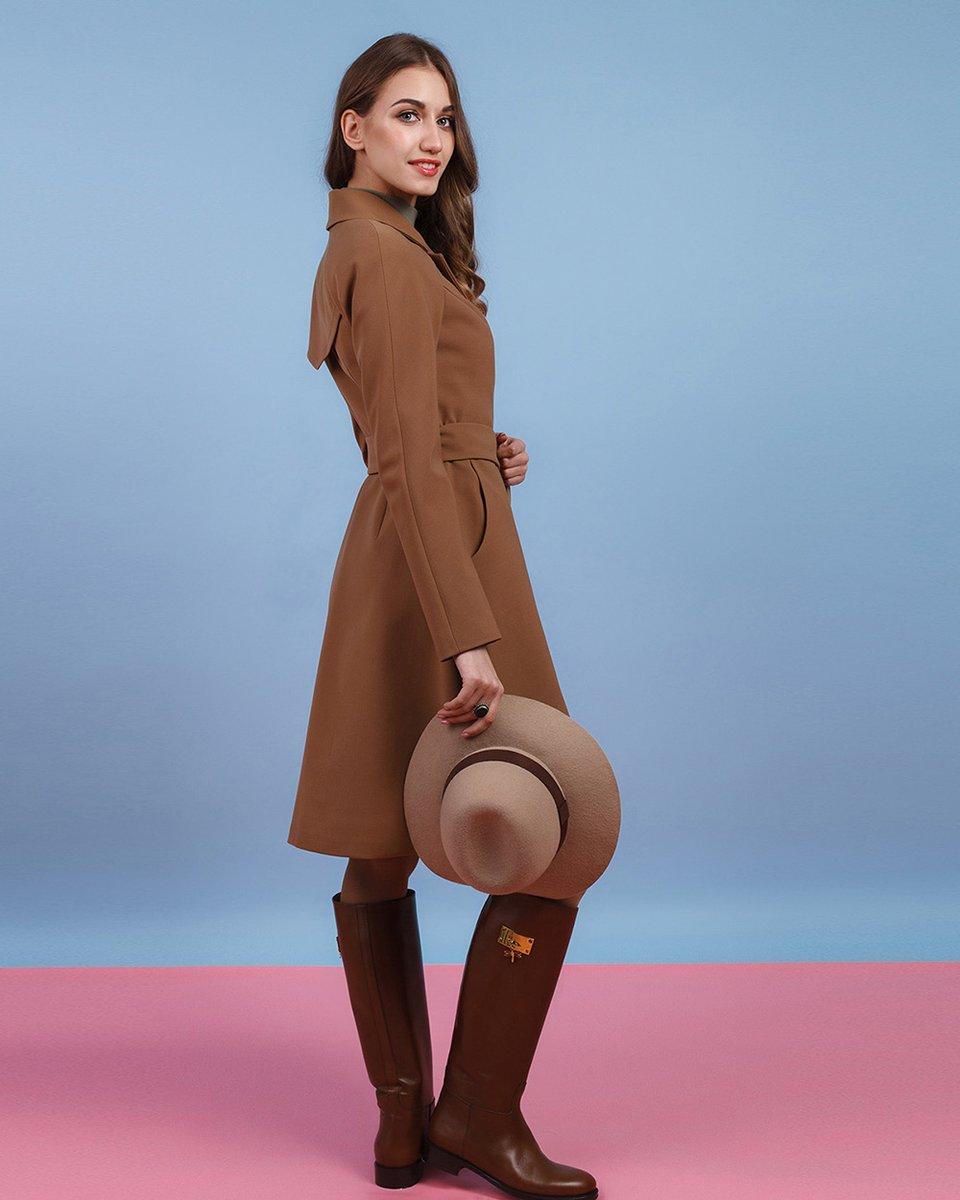 Пальто кардиган цвета какао