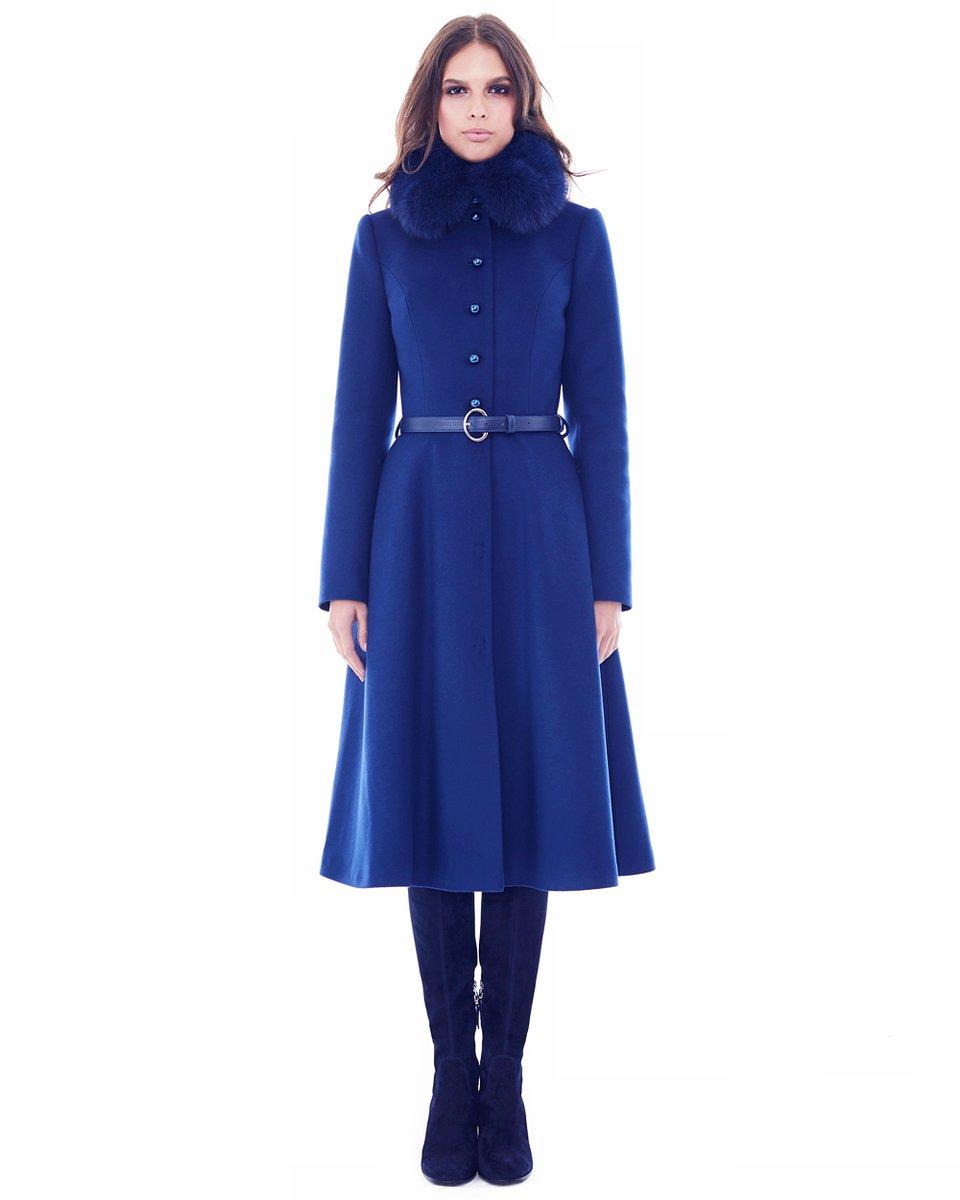 Зимнее пальто с широкой юбкой, цвета электрик