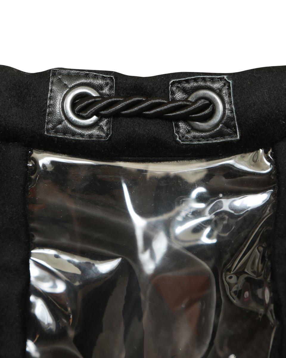 Пальто в спортивном стиле из драпа с прозрачными вставками, черного цвета