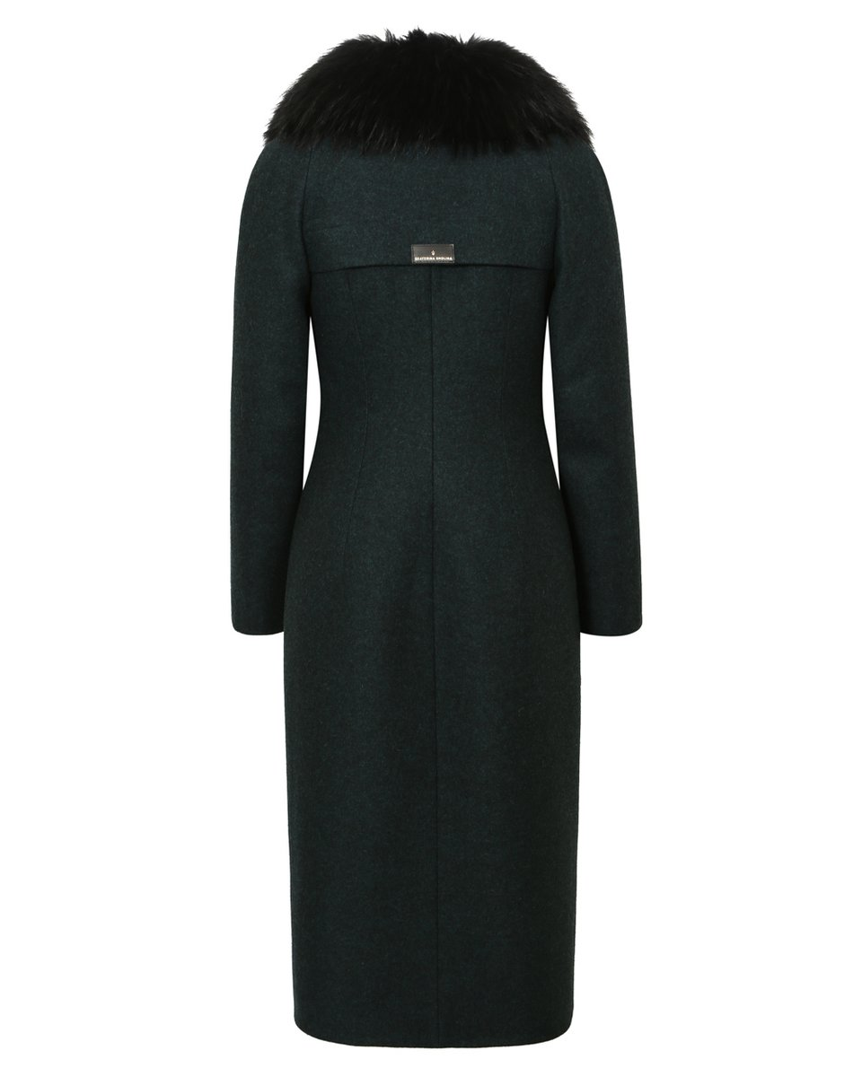 Двубортное пальто в спортивном стиле, цвета темный изумруд